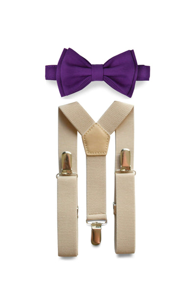 Beige Suspenders & Dark Purple Bow Tie for Kids