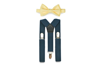Navy Suspenders & Yellow Bow Tie for Kids