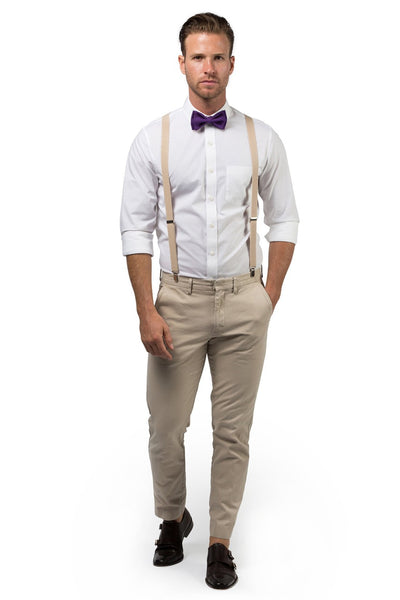 Beige Suspenders & Dark Purple Bow Tie