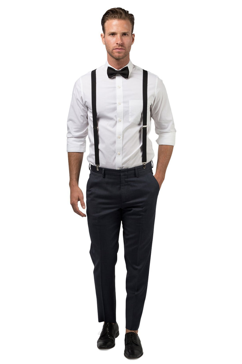 Black Suspenders & Black Bow Tie