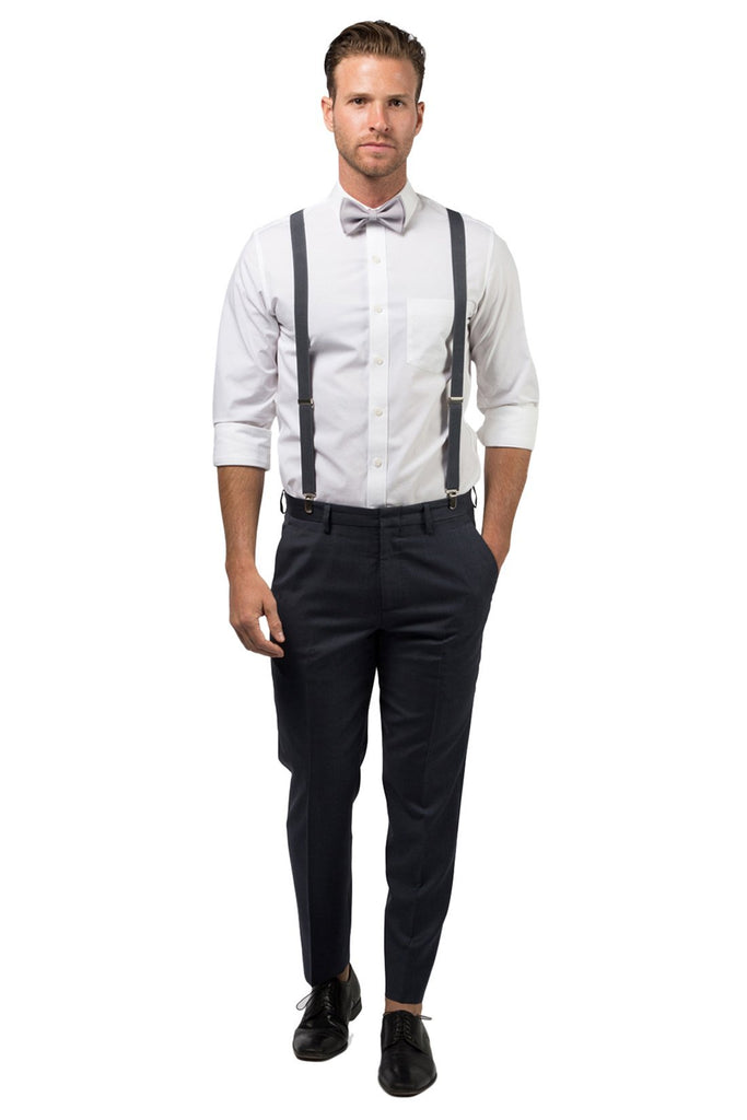 Charcoal Suspenders & Light Gray Bow Tie