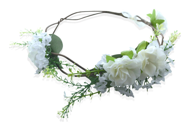 White & Green Flower Crown