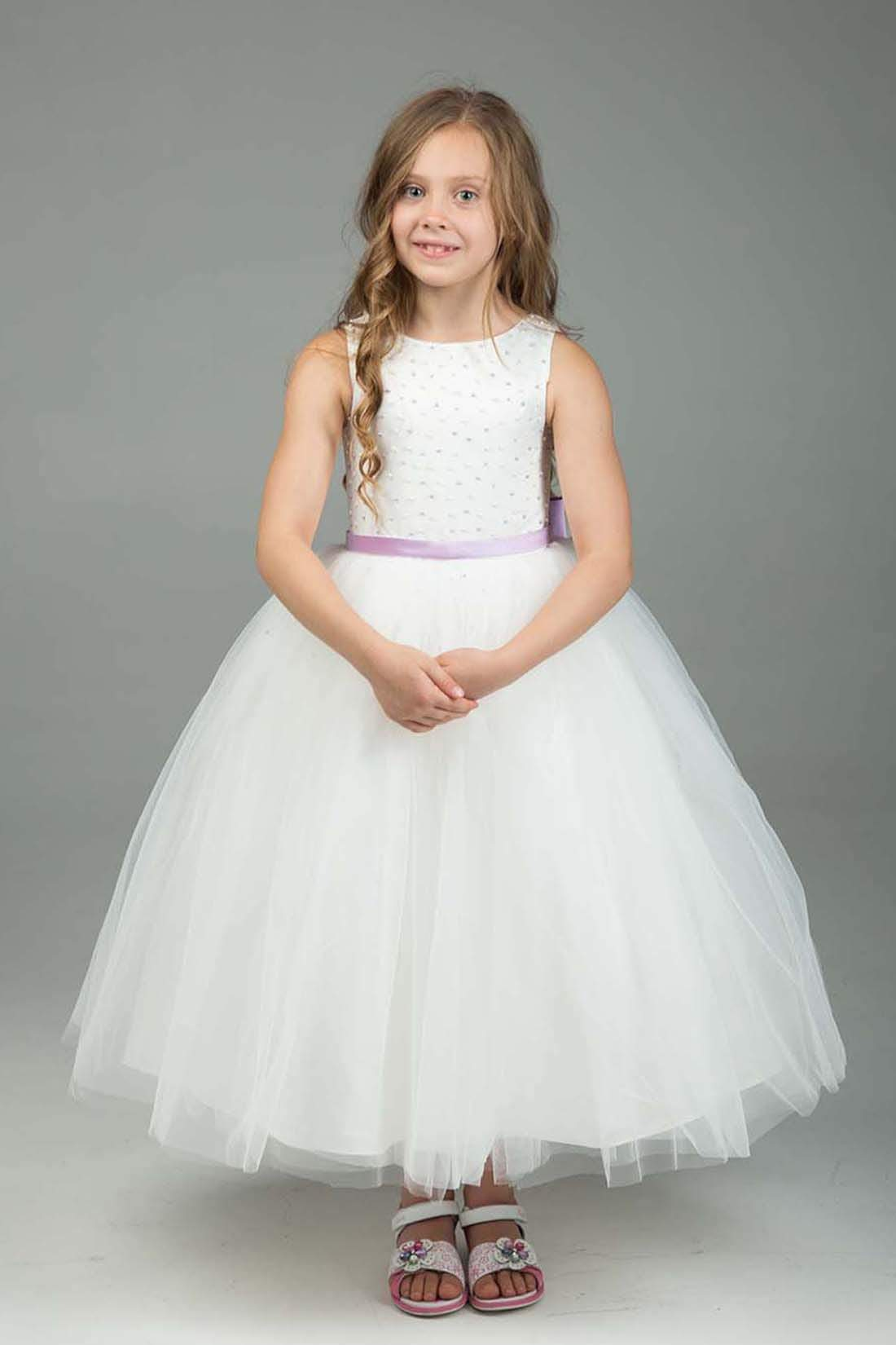 White Lavender Flower Girl Dress Armoniia