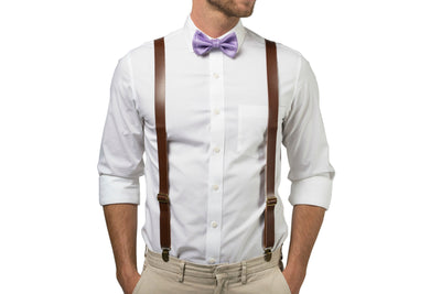 Brown Leather Suspenders & Purple Bow Tie