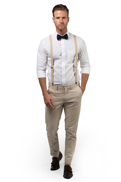 Beige Suspenders & Black Bow Tie