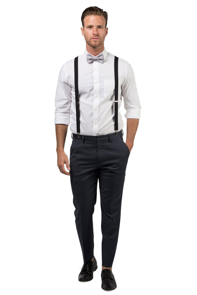 Black Suspenders & Light Gray Bow Tie