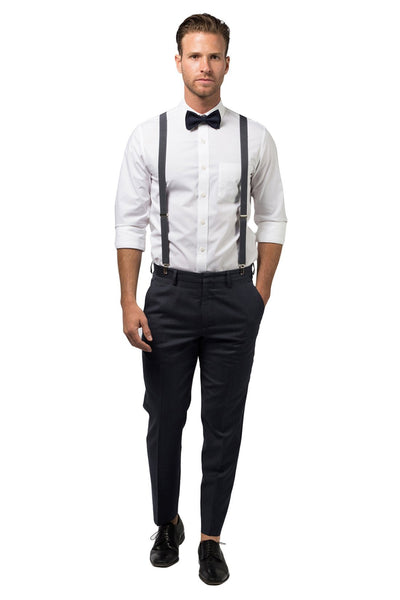 Charcoal Suspenders & Navy Bow Tie