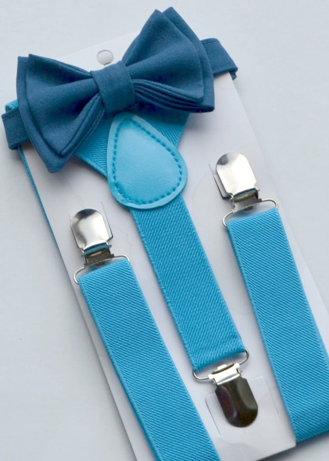 Sky Blue Suspenders & Peacock Bow Tie