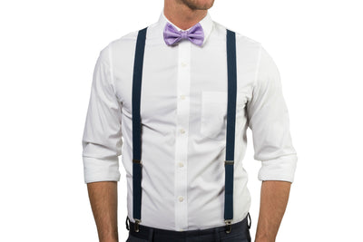 Navy Suspenders & Purple Bow Tie