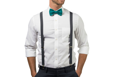 Charcoal Suspenders & Teal Bow Tie