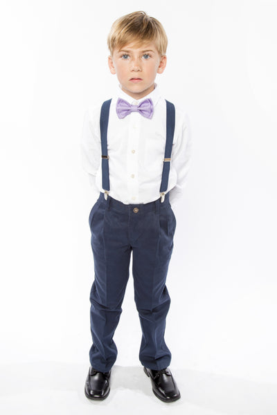 Navy Suspenders & Purple Bow Tie for Kids