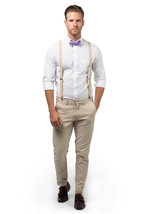 Beige Suspenders & Purple Bow Tie