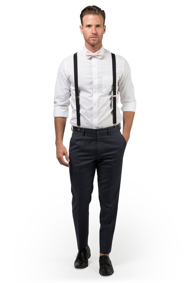 Black Suspenders & Petal Bow Tie