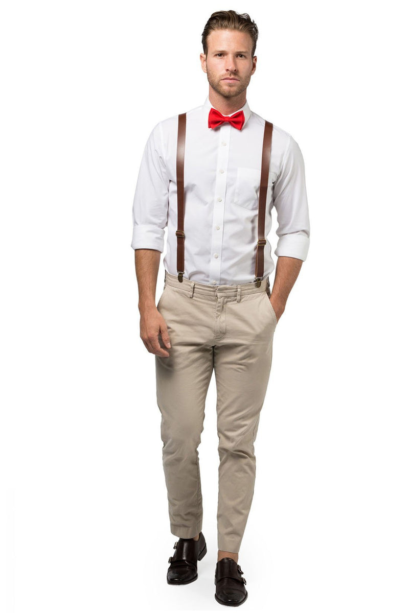 Brown Leather Suspenders & Red Bow Tie