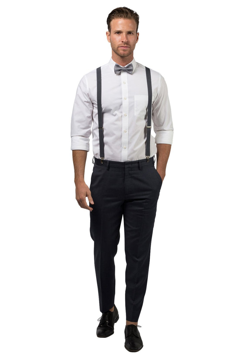 Charcoal Suspenders & Silver Polka Dot Bow Tie