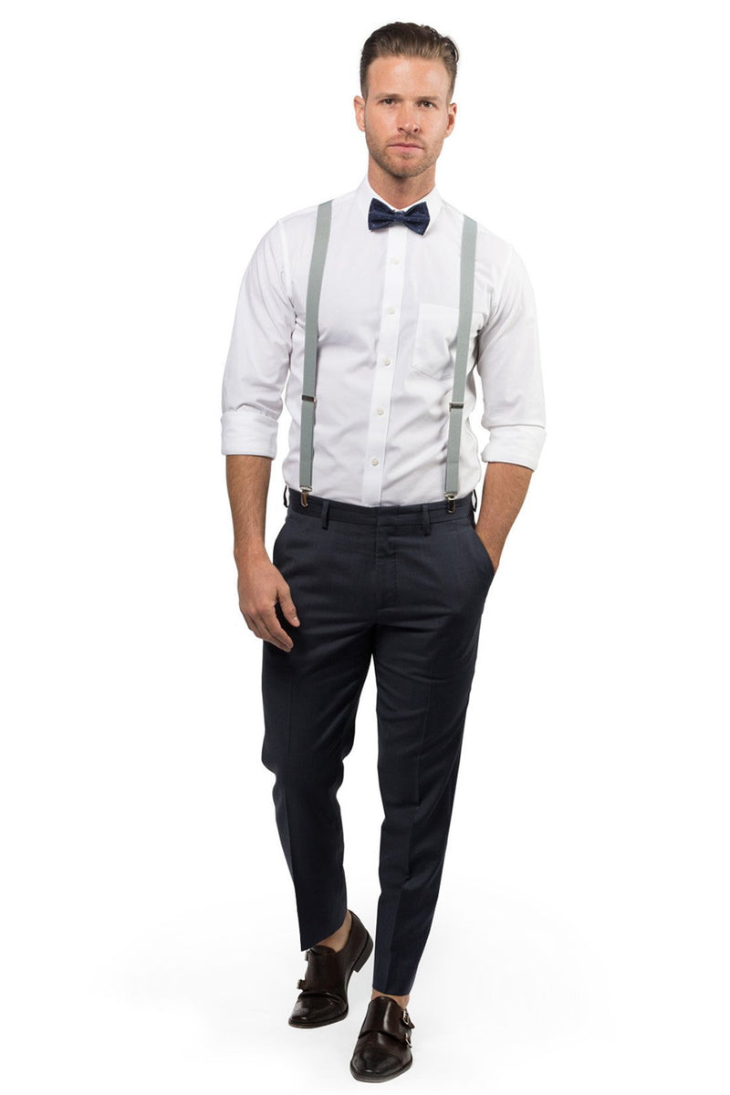 Light Gray Suspenders & Navy Polka Dot Bow Tie