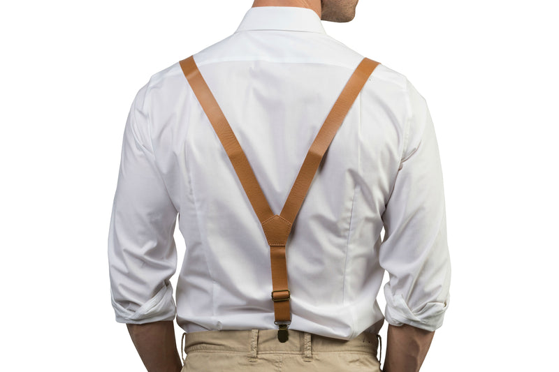 Tan Leather Suspenders & Navy Bow Tie