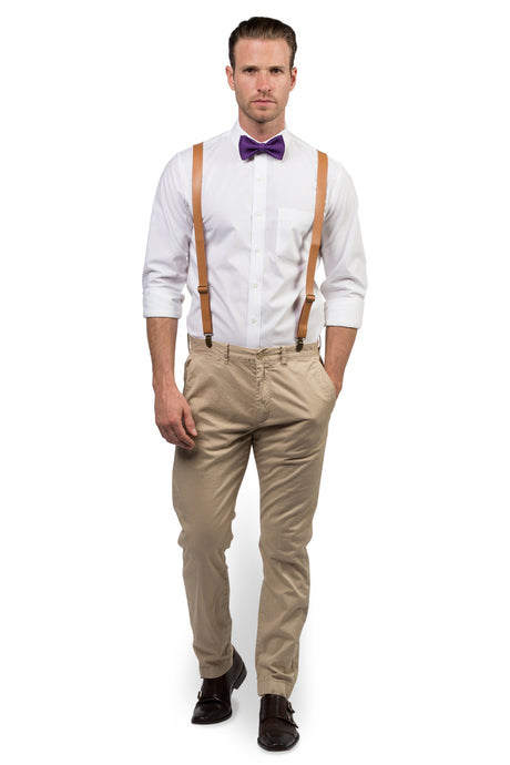 Tan Leather Suspenders & Dark Purple Bow Tie