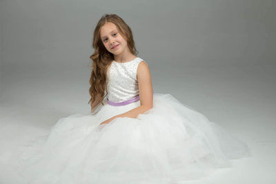 White & Lavender Flower Girl Dress - ARMONIIA