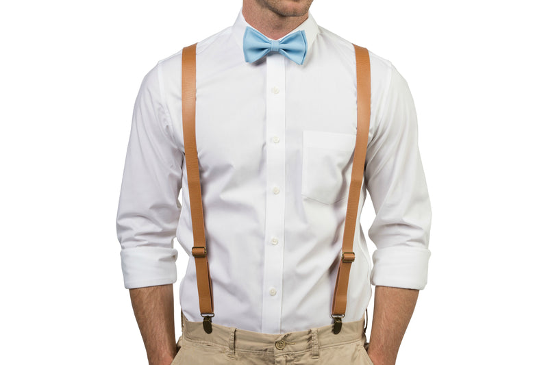 Tan Leather Suspenders & Baby Blue Bow Tie