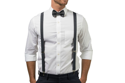 Charcoal Suspenders & Charcoal Bow Tie