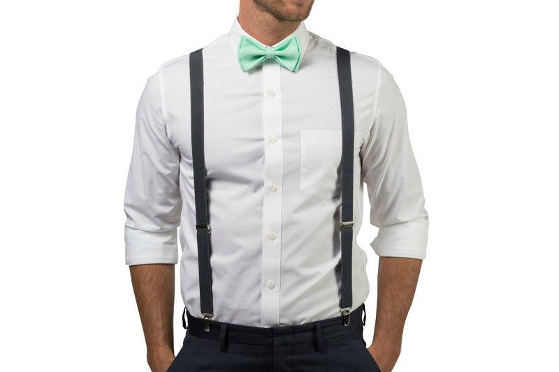 Charcoal Suspenders & Mint Bow Tie