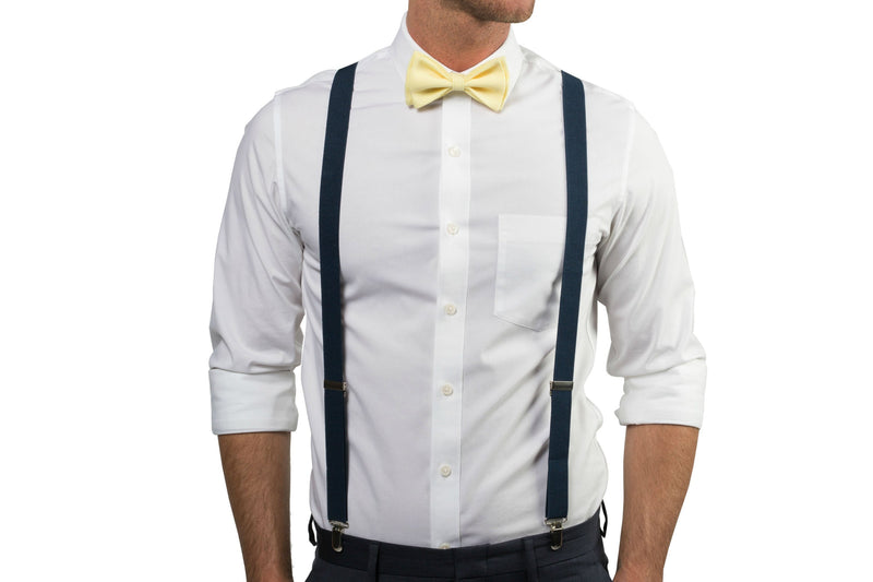 Navy Suspenders & Yellow Bow Tie