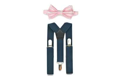 Navy Suspenders & Pink Bow Tie for Babies
