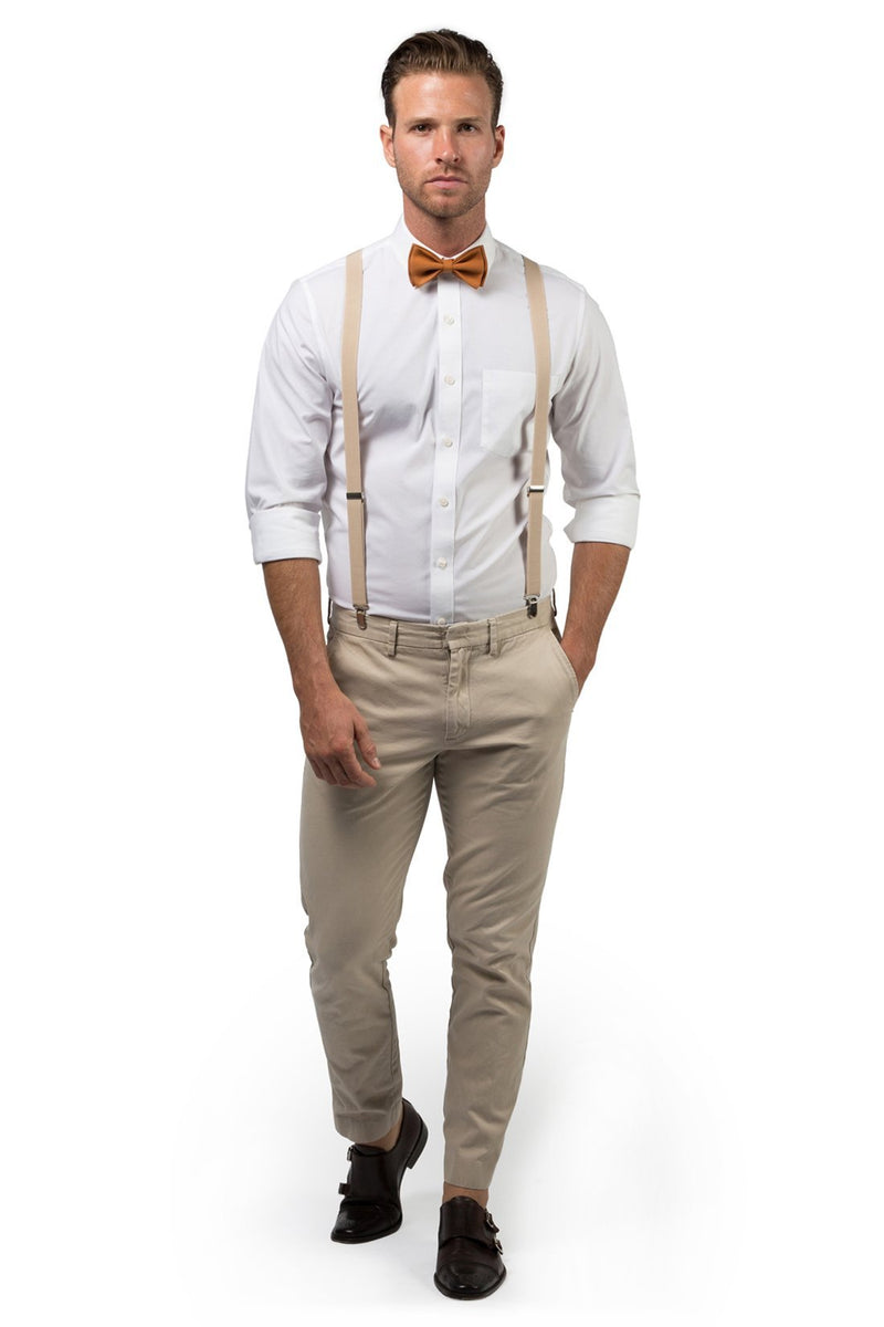 Beige Suspenders & Copper Bow Tie