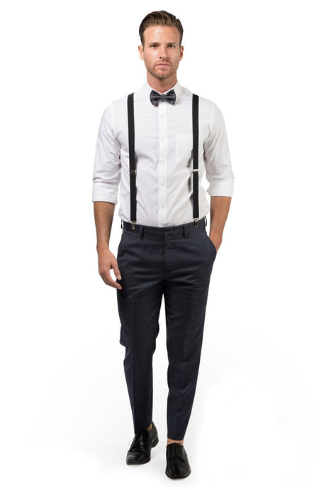 Black Suspenders & Charcoal Bow Tie