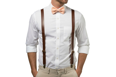 Brown Leather Suspenders & Peach Bow Tie