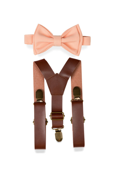 Brown Leather Suspenders & Peach Bow Tie for Kids