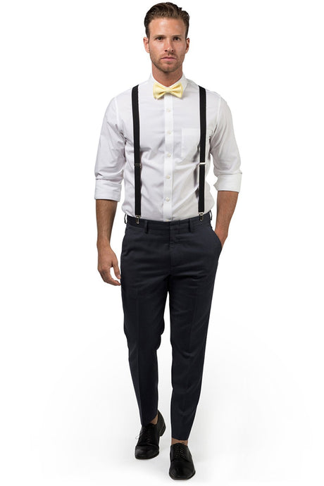 Black Suspenders & Yellow Bow Tie