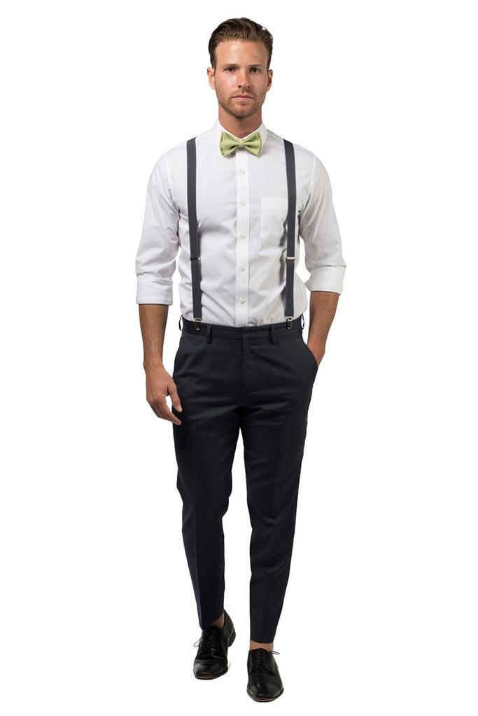 Charcoal Suspenders & Sage Bow Tie