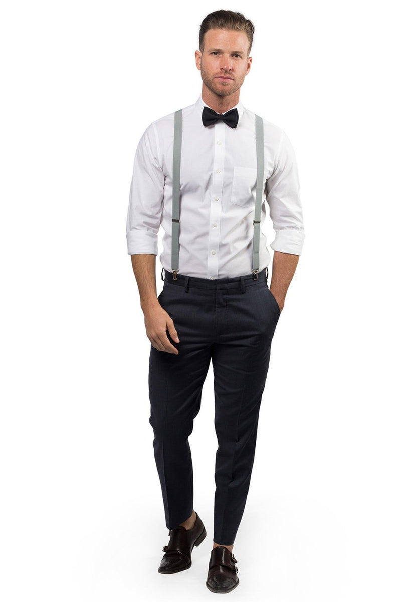 Light Gray Suspenders & Black Bow Tie