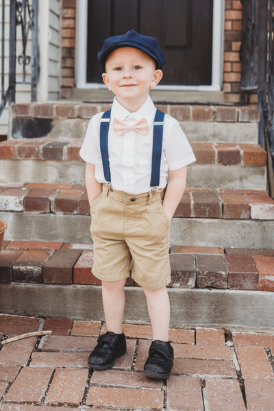 Navy Suspenders & Light Pink Bow Tie / Child