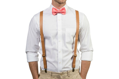 Tan Leather Suspenders & Coral Bow Tie