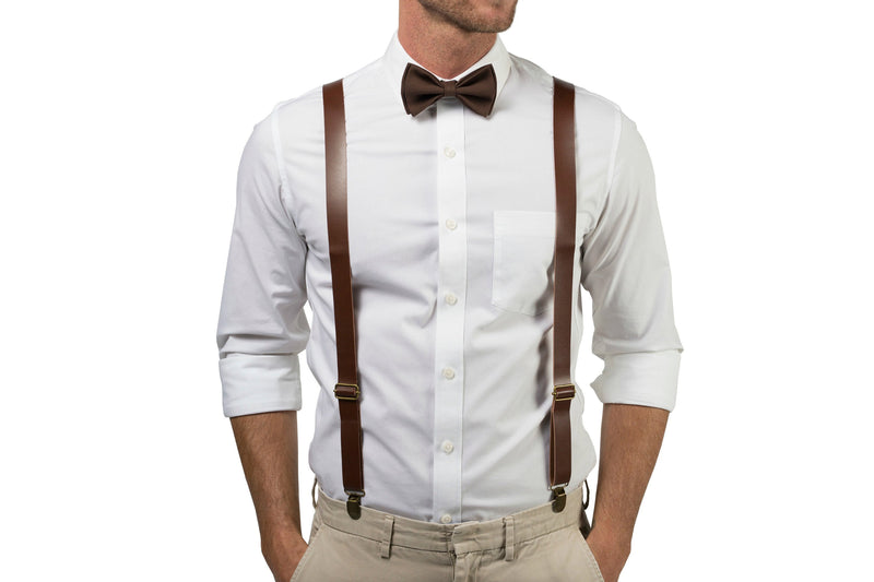 Brown Leather Suspenders & Brown Bow Tie