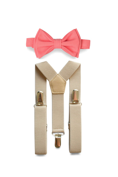 Beige Suspenders & Coral Bow Tie for Kids