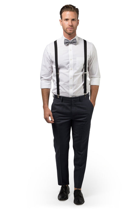 Black Suspenders & Gingham Black Bow Tie