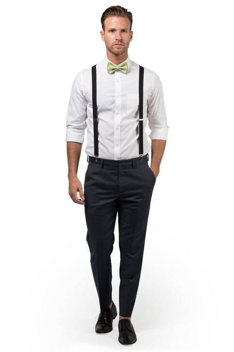 Black Suspenders & Sage Bow Tie