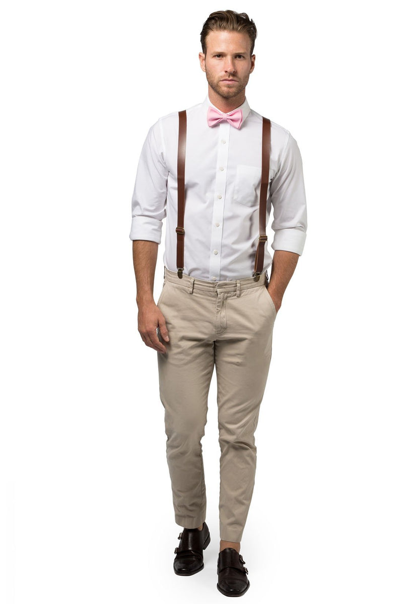 Brown Leather Suspenders & Candy Pink Bow Tie