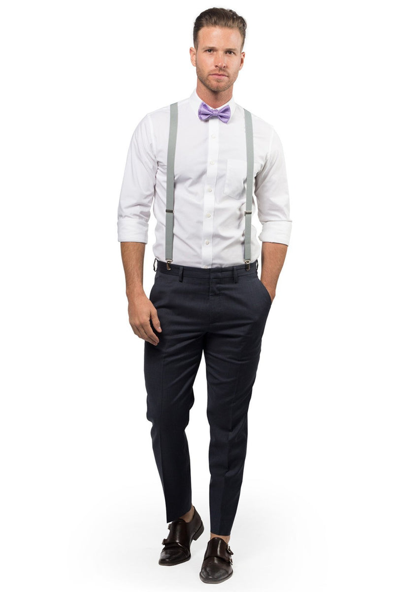 Light Gray Suspenders & Purple Bow Tie