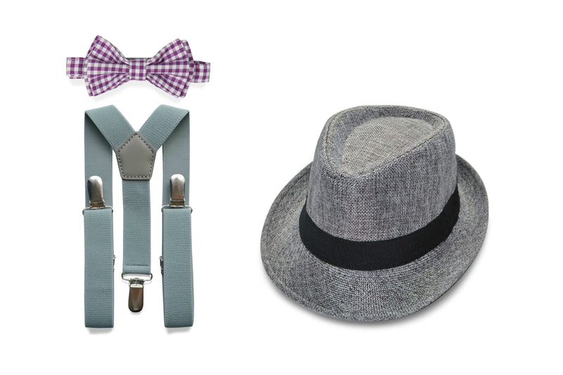 Ring Bearer Outfit - Purple Gingham Bow Tie & Light Gray Suspenders with Gray Fedora