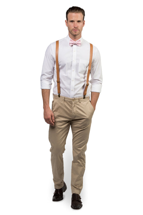 Tan Leather Suspenders & Pink Bow Tie