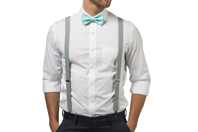 Light Gray Suspenders & Aqua Bow Tie