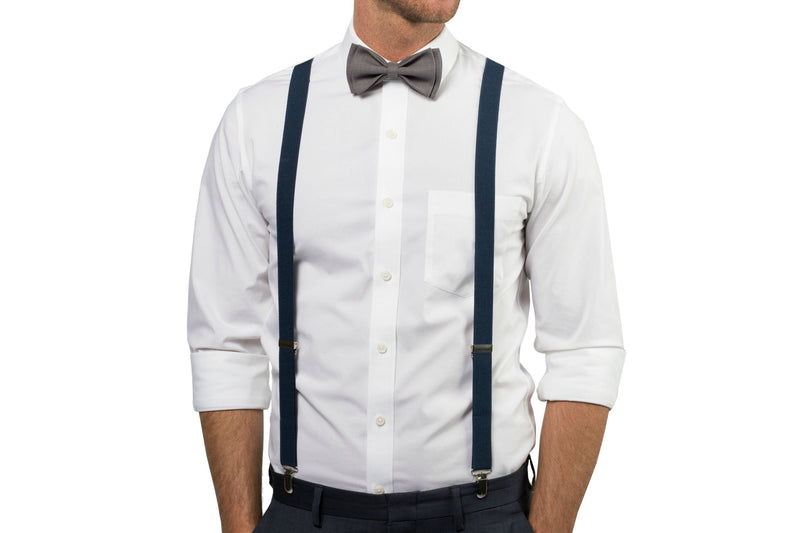 Navy Suspenders & Grey Bow Tie for Baby Toddler Boy Men