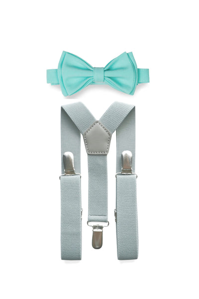 Light Grey Suspenders & Aqua Bow Tie for Kids