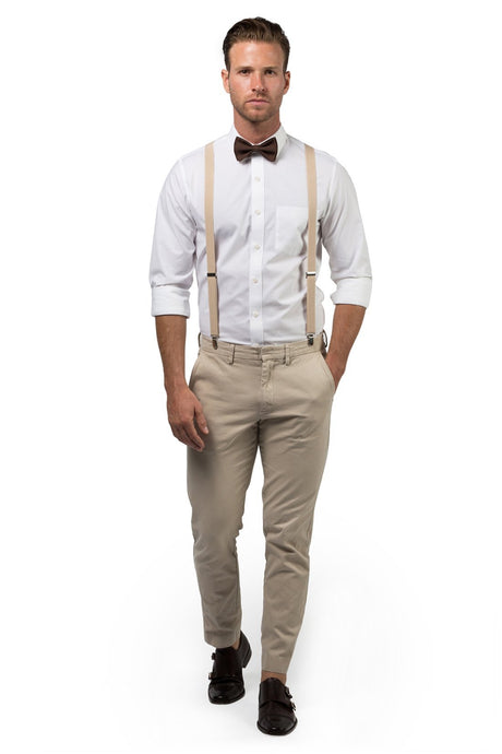 Beige Suspenders & Brown Bow Tie