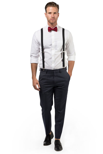 Black Suspenders & Burgundy Bow Tie